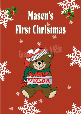 Personalised Boy Teddy First Christmas Card